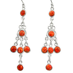 7.25cts red copper turquoise 925 sterling silver dangle earrings jewelry r37537