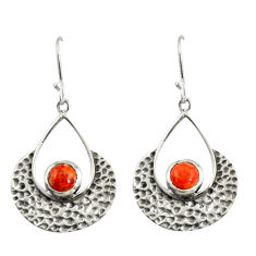 1.57cts red copper turquoise 925 sterling silver dangle earrings jewelry r39082