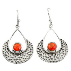 1.64cts red copper turquoise 925 sterling silver dangle earrings jewelry r39083