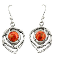 5.53cts red copper turquoise 925 sterling silver dangle earrings jewelry r39161
