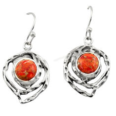 6.11cts red copper turquoise 925 sterling silver dangle earrings jewelry r42863