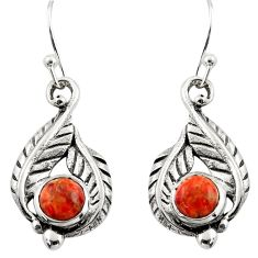 1.98cts red copper turquoise 925 sterling silver dangle earrings jewelry r42910