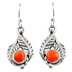 1.92cts red copper turquoise 925 sterling silver dangle earrings jewelry r42929