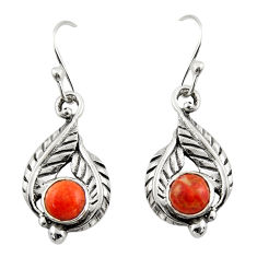 1.98cts red copper turquoise 925 sterling silver dangle earrings jewelry r42930