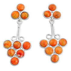 11.74cts red copper turquoise 925 silver handmade earrings r73094