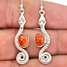 4.31cts red copper turquoise 925 sterling silver snake earrings jewelry t40195