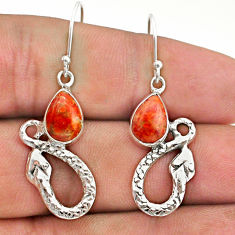 4.49cts red copper turquoise 925 sterling silver snake earrings jewelry t40255