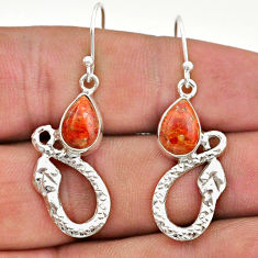 4.71cts red copper turquoise 925 sterling silver snake earrings jewelry t40256