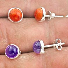 4.94cts red copper turquoise amethyst 925 silver 2 pair studs earrings t50892