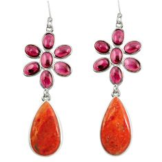 Clearance Sale- 28.91cts red copper turquoise garnet 925 sterling silver dangle earrings d39661