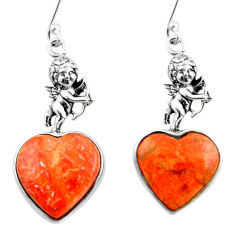 12.14cts red copper turquoise heart 925 silver cupid angel wings earrings r46814