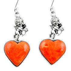 10.97cts red copper turquoise heart 925 silver cupid angel wings earrings r46815