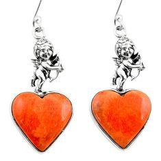 10.97cts red copper turquoise heart 925 silver cupid angel wings earrings r46818