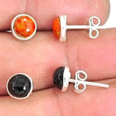 5.70cts red copper turquoise onyx 925 sterling silver stud earrings r81570