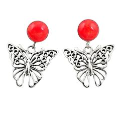 Red coral 925 sterling silver butterfly earrings jewelry c12594