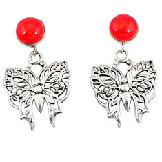 Red coral 925 sterling silver dangle butterfly earrings jewelry c11703