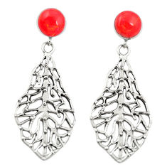 Red coral 925 sterling silver dangle earrings jewelry c11623