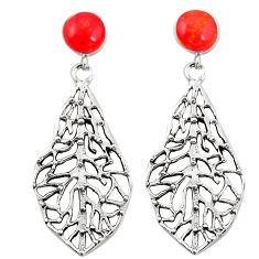 Red coral 925 sterling silver dangle earrings jewelry c11639