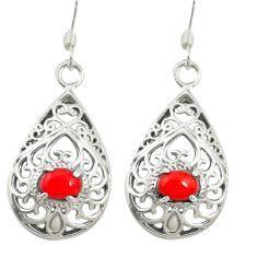 Red coral 925 sterling silver dangle earrings jewelry c11727