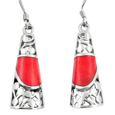 5.52cts red coral 925 sterling silver dangle earrings jewelry c11749