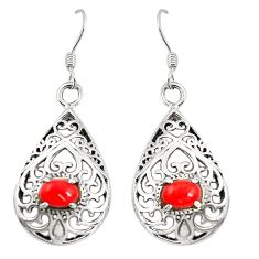 Red coral 925 sterling silver dangle earrings jewelry c11804