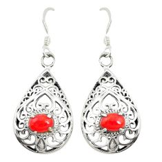 Red coral 925 sterling silver dangle earrings jewelry c11805