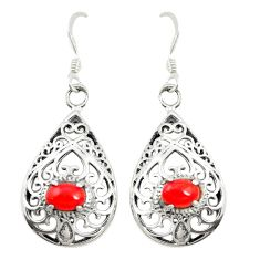 Red coral 925 sterling silver dangle earrings jewelry c11812