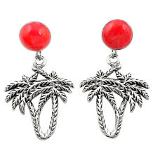 Red coral 925 sterling silver dangle palm tree earrings jewelry c11638
