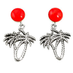 Red coral 925 sterling silver dangle palm tree earrings jewelry c12592