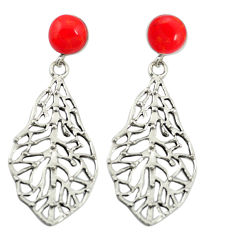 Red coral 925 sterling silver deltoid leaf earrings jewelry c11634