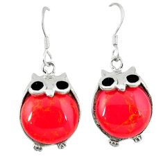 Red coral black onyx 925 sterling silver owl earrings jewelry c11852