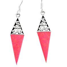 4.25gms red coral enamel 925 sterling silver dangle earrings jewelry c11705