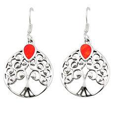 Red coral enamel 925 sterling silver dangle earrings jewelry c11580