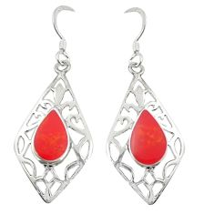 Red coral enamel 925 sterling silver dangle earrings jewelry c11726