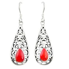 Red coral enamel 925 sterling silver dangle earrings jewelry c11728