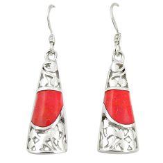 Red coral enamel 925 sterling silver dangle earrings jewelry c11744