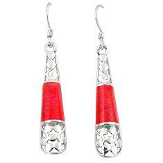 Red coral enamel 925 sterling silver dangle earrings jewelry c11750