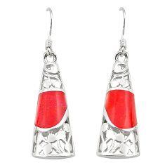 Red coral enamel 925 sterling silver dangle earrings jewelry c11753