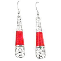 Red coral enamel 925 sterling silver dangle earrings jewelry c11755