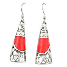 Red coral enamel 925 sterling silver dangle earrings jewelry c11756