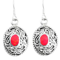 3.48gms red coral enamel 925 sterling silver dangle earrings jewelry c11771