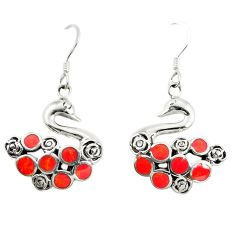 Red coral enamel 925 sterling silver dangle earrings jewelry c11810