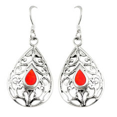 Red coral enamel 925 sterling silver dangle earrings jewelry c11816