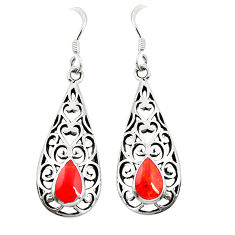 Red coral enamel 925 sterling silver dangle earrings jewelry c11821