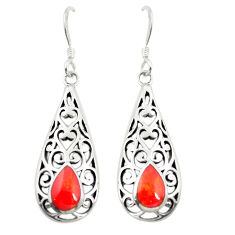 Red coral enamel 925 sterling silver dangle earrings jewelry c11822