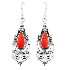 Red coral enamel 925 sterling silver dangle earrings jewelry c11825