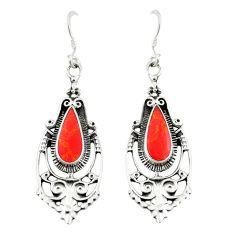 Red coral enamel 925 sterling silver dangle earrings jewelry c11826
