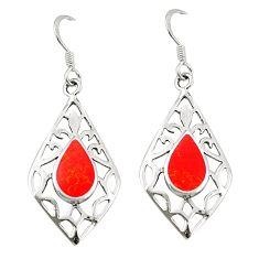 Red coral enamel 925 sterling silver dangle earrings jewelry c11827