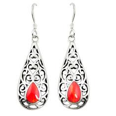 Red coral enamel 925 sterling silver dangle earrings jewelry c11829
