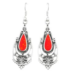 Red coral enamel 925 sterling silver dangle earrings jewelry c11831